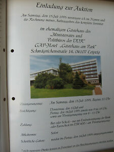 Versteigerungskatalog d. Gästehauses Politbüro der DDR in Leipzig 1995