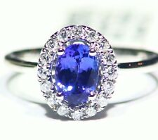 1.25CT 14K Gold Natural Tanzanite Diamond Vintage AAA Wedding Engagement Ring