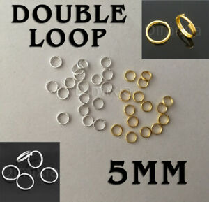 Silver Gold Rhodium Double Loop Open Jump Rings Split Key Ring Connector 5mm