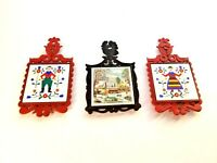 Cast Iron Tile Painted Trivet Vintage set of 3 - 2 Red Dutch Rooster