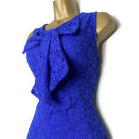 JANE NORMAN Lace Dress Size 12 Pussybow Bow Royal Blue Cocktail Party Xmas Azure