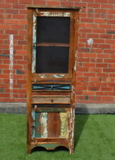 Reclaimed Timber Country Vintage Natural Display Glass Door Cabinet Cupboard