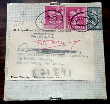 US 1948 PREXY REGISTERED BOX FROM MET LIFE W/ PERFINS INSURED 2, 15, 25 X 2ct