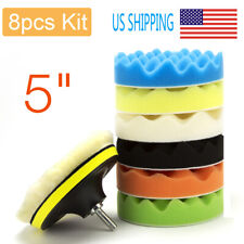 "8Packs Car Buffing Pad Polishing Buffer For Drill Sponge Kit Waxing Foam 5"" inch"