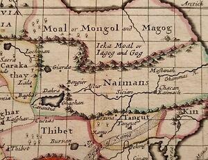 1690 JOHN SELLER MAP TARTARIA (ASIA) TIBET MONGOLIA KALGHAR NAIMANS TANGUT KIN