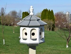 Small Gazebo Birdhouse Amish Handmade 8 holes  4 rooms Post Not Included