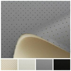 OFF WHITE IVORY PERFORATED HEADLINING 4 MM SCRIM FOAM BACKED LEATHER VINYL