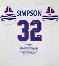 O. J. Simpson Autographed White Pro Style Stat2 Jersey With HOF- JSA W Auth *2