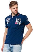 Cipo & Baxx Herren Jungen Party T-Shirt Polo Shirt CT461 kurzarm navy dunkelblau