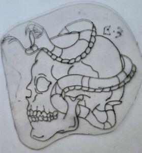vintage tattoo original don nolan design skull snake acetate flash stencil 3.5x4