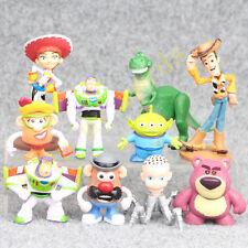 10 Pcs Disney Cartoon Movie Toy Story Buzz Lightyear Woody Jessie PVC Figure New