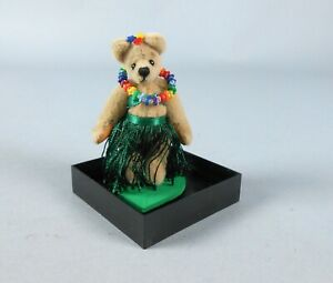 World of Miniature Bears Leilani mini velvet Hawaiian bear in case