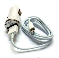100 Lot White Car Adapter + Charger Cable  Data Sync Transfer for iPhone 5s 6