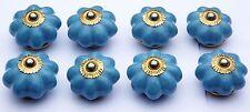 porcelaine céramique boutons tire-placard anse bleu clair fleur avec (cuivre)