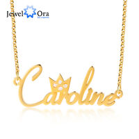 Custom Name Crystal Crown Necklace Name Plate Pendant Jewellery Gift For Women