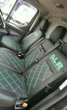 Ford Transit MK7 CUSTOM SEAT COVERS FULL ECO LEATHER Bentley Stitching + 2 logos