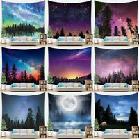 Starry Forest Trees Tapestry Night Sky Fantastic Galaxy Landscape Wall Hanging