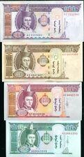 MONGOLIA SET 4 PCS 10 20 50 100 TUGRIK 2000 - 2009 UNC