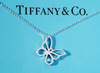 Tiffany & Co Sterling Silver Small Butterfly Charm Necklace 16 Inch