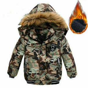 Kids Boys Cotton Warm Coats Hooded Outwear Winter Down Coat Toddler Thick Jacket