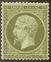 """FRANCE STAMP TIMBRE N° 19 """" NAPOLEON III 1c OLIVE DENTELE 1862 """" NEUF x A VOIR"""