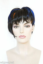 Picabo Asymmetrical Short Straight Black With Rainbow neon Streaks Costume Wigs