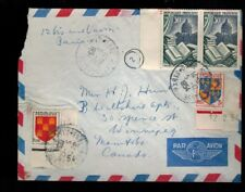 FR1130  FRANCE 1954 MULTI  FRANKED AIR MAIL COVER w MARGINS  TO WINNIPEG CANADA