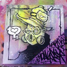 ORIGINAL GRAFFITI CANVAS CHARACTER STUDY by HOAKSER PAINTING SKETCH LOVE ART NEW