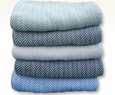 Bed Blanket Throw Maine Woolens Belfast 100% Cotton Herringbone Usa Made Eco