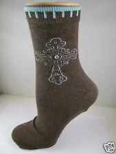 K.Bell Cross Design Rhinestone Center Cotton Blend Ladies Crew Socks Brown New