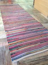❤️Plain Bright Multi Colour Rag Rug 60cm x 200cm Flat Weave Runner Chindi