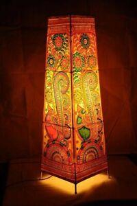 Original Indian Handicraft Ramayana Theme Leather Puppetry Floor Table Lamp