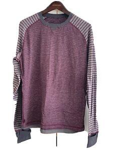 Lululemon Men's Run Long Sleeve RULU [Heather Plum/Gray] Stripe Size LARGE