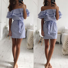 UK Women Off Shoulder Bardot Mini Dress Ladies Summer Ruffle Bodycon Frill Tops