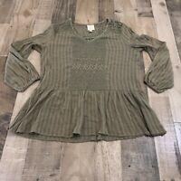 Knox Rose Adult Womens Size Medium Striped Crochet 3/4 Sleeve Green Peplum Top
