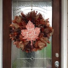 "Fall Deco Mesh Door Wreath "" FREE SHIPPING """