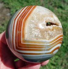 Natural Red Carnelian Caramel Agate Geode Crystal Sphere Ball Smiley Quartz