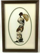 Framed African Woman Butterfly Moth Wing Original Signed Art Jija Oduka 14 x 10