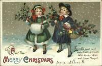 Christmas Children Gather Holly c1910 Unsigned Clapsaddle Postcard