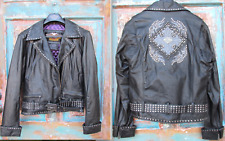Womens SMALL Harley Davidson Motorcycle Leather Studded Jacket Black Riding Moto