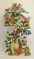 Christmas Tall Tree House Resin Sculpture Animals Penguins Slides Jaimy