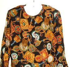 Vtg Norton Mcnaughton Clock Old World Print Blouse padded shoulder jacket top 10