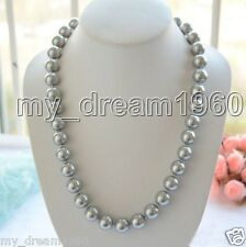 "Handmade 14mm Natural Genuine Silver Gray South Sea Shell Pearl Necklace 18""AAA+"