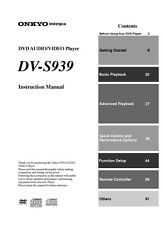 Onkyo DV-S939 DVD Player Owners Manual