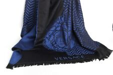 ❗️ NEW $475 Versace Wool BLue Black Medusa Sciarpa Scarf Large 30 x 78 Authentic