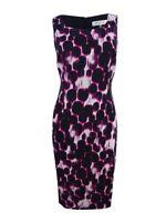 Kasper Women's Jacquard Printed Sheath Dress 4, Geranium/Black