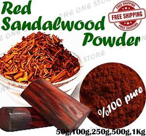 Red Sandalwood Powder Laal Chandan Pterocarpus santalinus Face Mask Organic B Gd