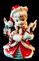 Vintage NAPCO CHRISTMAS ANGEL Shopper w/Spaghetti Trim PLANTER VASE 1950's Japan