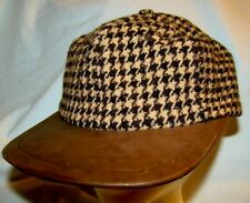 RARE VTG POLO RALPH LAUREN Wool Leather Bill MADE IN USA Adj HOUNDSTOOTH  #513
