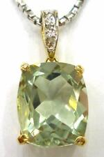 SYJEWELRYEMPIRE NICE 10KT GOLD 6CT NATURAL GREEN AMETHYST & DIAMOND PENDANT P841